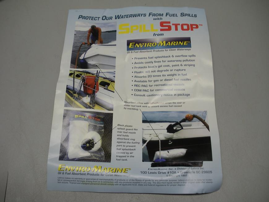 "Enviro Marine ""Spill Stop"" Gasoline Spill Prevention Kit - Absorbent Booms"
